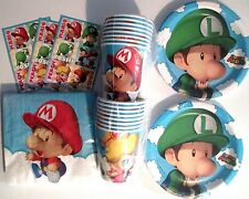 SUPER MARIO BROS. BABIES - Birthday Party Supplies Set Pack for 16 w/ Stickers