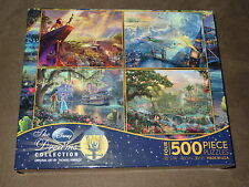 Thomas Kinkade Disney Four-500 Piece Puzzles-Lion King, Peter Pan, & More-NIP
