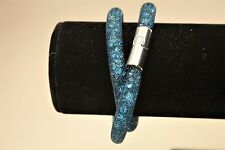 MONTANA BLUE SILVER CLASP DOUBLE WRAP STARDUST MESH MAGNETIC CRYSTAL BRACELET