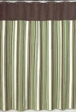 ETHAN GREEN BROWN STRIPE MENS KID BATH FABRIC SHOWER CURTAIN SWEET JOJO DESIGNS