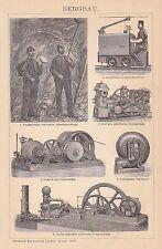 BERGBAU Bergwerk Förderhaspel Grubenpumpe HOLZSTICH um 1900 Grubenlokomotive