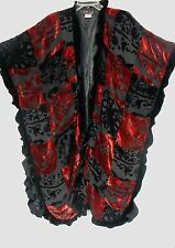 MULIN OS WEARABLE ART BURNOUT VELVET BLACK RED LINED LONG JACKET/PONCHO/RUANA