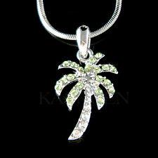 w Swarovski Crystal Green Palm Tree Coconut Beach Wedding Charm Necklace Jewelry