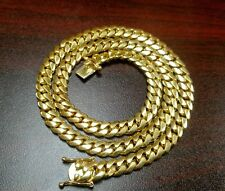 "24"" 14k Gold Plated Silver Miami Cuban Link Chain, 8 mm 120 grams"