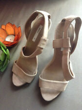 IMPORTED MANGO SUEDE BEIGE NUDE STRAPPY HEELS SHOES US6