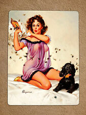 Cartello in Metallo Retrò Vintage Stile Gil Elvgren SEXY PIN UP GIRL TIN MURO PORTA TARGA