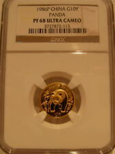 China 1986P Gold 1/10 oz Panda 10 Yuan NGC PF-68UC