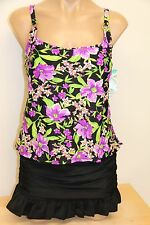 New Island Escape Swimsuit Tankini 2pc Set Sz 14 Purple Skirt Add a size Tankini