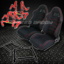 2X T-F1 BLACK WOVEN RACING SEATS+BRACKETS+4-PT RED SEAT BELTS CIVIC/EG/EK/DC2