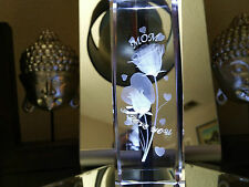 "3D Laser Etched Crystal Mothers DayI I Love You 6"" Paperweight +LED Stand Boxed"