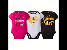 3 PITTSBURGH STEELERS GIRLS BABY ONESIES SHIRTS SIZE 3-6 MONTHS NEW FASTSHIP