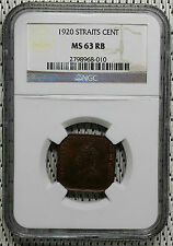 *NGC MS63* 1920 - Straits Settlements - 1 Cent George V #CAFD