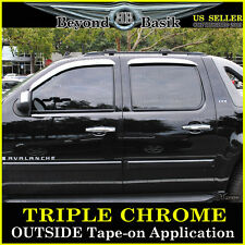 2007-2014 SUBURBAN AVALANCHE 4pc Chrome Door Visors Window Side Rain Guards