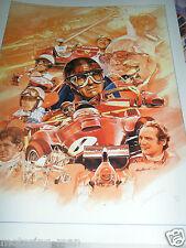Ferrari 50 años ENZO Juan Fangio Surtees Niki Lauda impresión firmada Craig Warwick