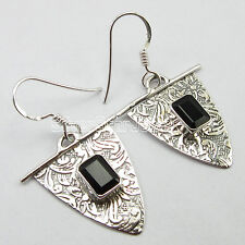 925 Stamp Solid Sterling PURE Silver Earrings, Real BLACK ONYX Jewelry 3.7 CM