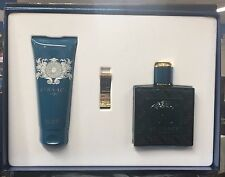 NEW VERSACE EROS Men Cologne 3 PCS SET 3.4 oz EDT+ 3.4oz shower gel + Money Clip