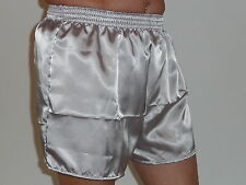 Silver Grey Glossy  Poly Satin Boxer Shorts X / Large