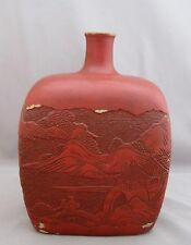 "ANTIQUE/VTG JAPANESE/CHINESE IKEBANA VASE~CLAY/RED PAINT~VILLAGE SCENE~8""TALL"