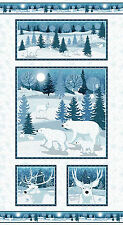 """Winter Frost Holiday Quilt Fabric Polar Bears  24"""" Panel 9692-11"""