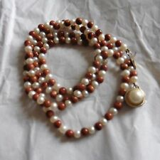 Pearl and Sunstone Bead Necklace with Large Pearl at Clasp, 28 inches