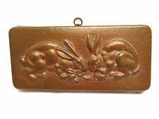 Vintage Portugal Heavy Tin Lined Copper Mold w/ Bunny Rabbits