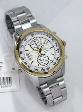 SEIKO Quartz  Stainless Steel Chronograph Watch SNN256P1 Gold tone accents