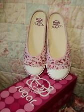 sugar  rose print shabby  n chic  flat slides NEW  rrp $59.95
