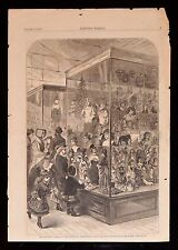 ANTIQUE 1877 WORLD'S FAIR CENTENNIAL EXHIBITION Genuine Engraving CHRISTMAS TOYS