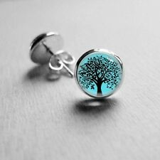 14mm Tree Silhouette Turquoise Base Stud Earrings Surgical Stainless Steel Post