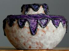 Vintage 60-70's MAREI Keramik Purple Lace Vase West German Pottery Fat Lava Era2