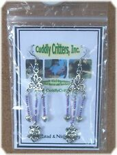 Tibetan Silver Angel Pig and Hearts Lt. Purple Dangle Earrings Made in the USA