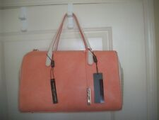 INNUE Made in Italy Salmon/Beige Genuine Leather Large Satchel, NWT