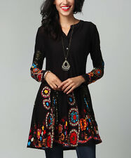 #234 Ladies Designer Black Garden Button-Front Tunic Dress Top rrp£36.99 UK 16