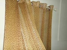 VICTORIA CLASSICS CHEETAH LEOPARD (PAIR) SEMI SHEER PANELS AMBER BROWN 56 X 94