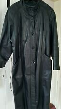 Pelle Black Leather Trench Coat Long Women's Large