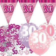Pink Silver Sparkle 30th Birthday Flag Banner Party Decoration Pack Kit Set