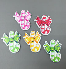Christmas present candy Wooden Buttons scrapbooking Sewing Mix-color 31mm