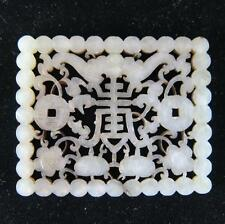 LARGE ANTIQUE CHINESE WHITE AND GRAY JADE PLAQUE DECORATED WITH BATS AND COINS