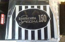 Lambretta 150 special in Silver on a Black White Stripped cuppini Mudflap.