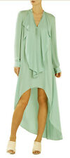 "$198 BCBG LT AQUA ""KAILENE"" HI LOW  LONG SLEEVE LONG MAXI DRESS NWT M"