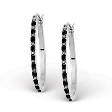 Diamond Mystique Sterling Silver Black & White Diamond Pear Hoop Earrings