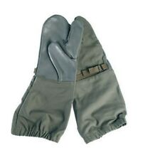 German Army Trigger Finger Leather & Cotton Mittens One Size shooting gloves