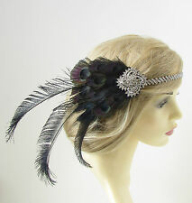 Black & Silver Peacock Feather Headband 1920s Great Gatsby Flapper Headpiece 177