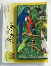 Parrots Birds Bag Tag Silicone Suitcase Travel Luggage USA Made Macaw Blue New