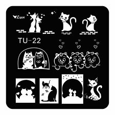 Nail Art Stamping Plate Nail Stamp Template Lovely Cat Design DIY Image TU22