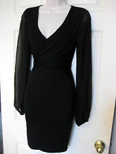 BEBE BLACK DAHLIA SHEER LONG SLEEVE STRETCH DRESS NEW $99 SMALL S