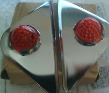 Nos Harley Davidson Vintage Red Jewel Stainless Steel Top Visors