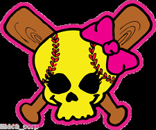 "Softball Fastpitch Skull over crossed bats 3"" decal"