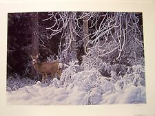 RS Ron Parker Signed/#ed Artist's Proof Print SNOW PALACE- MULE DEER  Beautiful!