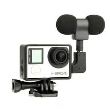 External Microphone Mic + Adapter + Standard Frame Kit Fit For GoPro Hero 4 3+ 3